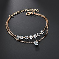 Dames Zirkonia Gelaagd Tennis Armbanden Wikkelarmbanden - Gesimuleerde diamant Hart Dames, Modieus, Elegant Armbanden Sieraden Goud Voor Bruiloft Verloving