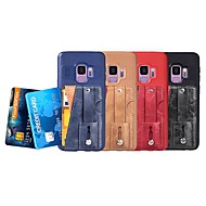 Недорогие Чехлы и кейсы для Galaxy S7-Кейс для Назначение SSamsung Galaxy S9 / S8 Бумажник для карт / со стендом / Кольца-держатели Кейс на заднюю панель Однотонный Мягкий Кожа PU для S9 / S9 Plus / S8 Plus
