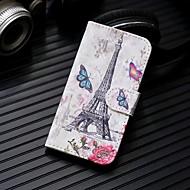 Недорогие Чехлы и кейсы для Galaxy Note-Кейс для Назначение SSamsung Galaxy Note 9 / Note 8 Кошелек / Бумажник для карт / со стендом Чехол Эйфелева башня Твердый Кожа PU для Note 9 / Note 8