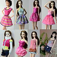 abordables Muñecas y Peluches-Casual / Diario Disfraces 8 pcs por Muñeca Barbie  Poliéster Faldas / Top / Vestido por Chica de muñeca de juguete
