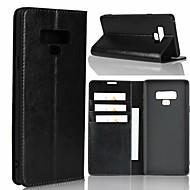 Недорогие Чехлы и кейсы для Galaxy Note 8-Кейс для Назначение SSamsung Galaxy Note 9 / Note 8 Кошелек / Защита от удара / со стендом Чехол Однотонный Твердый Настоящая кожа для Note 9 / Note 8 / Note 5
