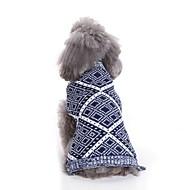 abordables -Chiens Pull Vêtements pour Chien Géométrique / Fil teint / Personnage Rouge / Bleu Térylène Costume Pour les animaux domestiques Unisexe Décontracté / Quotidien / Style Simple