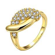 お買い得  -女性用 クリア キュービックジルコニア クラシック 指輪  -  18Kゴールド ファッション 7 / 8 ゴールド / ローズゴールド 用途 日常 誕生日