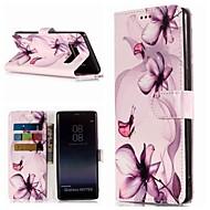 Недорогие Чехлы и кейсы для Galaxy Note-Кейс для Назначение SSamsung Galaxy Note 9 / Note 8 Кошелек / Бумажник для карт / со стендом Чехол Цветы Твердый Кожа PU для Note 9 / Note 8