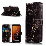 Недорогие Чехлы и кейсы для Galaxy A5(2016)-Кейс для Назначение SSamsung Galaxy A8 Plus 2018 / A5(2017) Кошелек / Бумажник для карт / со стендом Чехол Мрамор Твердый Кожа PU для A3 (2017) / A5 (2017) / A8 2018
