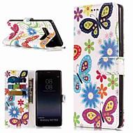 Недорогие Чехлы и кейсы для Galaxy Note-Кейс для Назначение SSamsung Galaxy Note 9 / Note 8 Кошелек / Бумажник для карт / со стендом Чехол Бабочка Твердый Кожа PU для Note 9 / Note 8