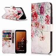 Недорогие Чехлы и кейсы для Galaxy A3(2017)-Кейс для Назначение SSamsung Galaxy A8 Plus 2018 / A3(2017) Кошелек / Бумажник для карт / со стендом Чехол Цветы Твердый Кожа PU для A3 (2017) / A5 (2017) / A8 2018