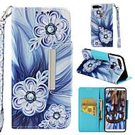 お買い得  携帯電話ケース-ケース 用途 Huawei Honor 7C(Enjoy 8) ウォレット / カードホルダー / フリップ バックカバー フラワー ハード PUレザー のために Honor 7C(Enjoy 8)