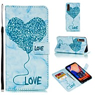 お買い得  携帯電話ケース-ケース 用途 LG Q6 / K10 2018 ウォレット / カードホルダー / フリップ フルボディーケース ハート / マーブル ソフト PUレザー のために LG V30 / LG Q6 / LG K10 2018