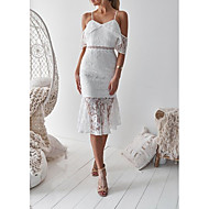 cheap -Women's Party Daily Basic Slim Sheath Trumpet / Mermaid Dress - Solid Colored Lace Strap Summer White M L XL / Sexy