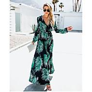cheap -Women's Daily Basic Maxi Slim Sheath Dress Deep V Cotton Green M L XL