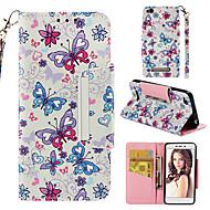 preiswerte Handyhüllen-Hülle Für Xiaomi Redmi 4a Geldbeutel / Kreditkartenfächer / Flipbare Hülle Ganzkörper-Gehäuse Schmetterling Hart PU-Leder für Xiaomi Redmi 4A