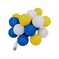 abordables Tiras de Luces LED-3M Cuerdas de Luces 20 LED Diodo LED Blanco Cálido USB / Decorativa / Boda Alimentado por USB 1pc