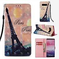 Недорогие Чехлы и кейсы для Galaxy Note 8-Кейс для Назначение SSamsung Galaxy Note 8 Кошелек / Бумажник для карт / Флип Чехол Эйфелева башня Твердый Кожа PU для Note 8