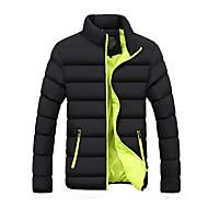 cheap -Men's Daily Basic Solid Colored Plus Size Regular Padded, Polyester Long Sleeve Winter Turtleneck Green XXL / XXXL / XXXXL