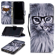 cheap -Case For Samsung Galaxy S9 Wallet / Card Holder / Shockproof Full Body Cases Cat Hard PU Leather for S9