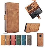 Недорогие Чехлы и кейсы для Galaxy S7-Кейс для Назначение SSamsung Galaxy S9 Plus / S8 Plus Кошелек / Бумажник для карт / Защита от удара Чехол Однотонный Твердый Настоящая кожа для S9 / S9 Plus / S8 Plus