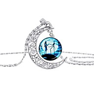 cheap -Women's Cartoon Pendant Necklace - Silver Plated Anime Cool Blue 42+5 cm Necklace Jewelry 1pc For Halloween, Masquerade