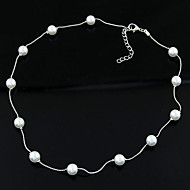hesapli -Kadın's Klasik Kolye - İmitasyon İnci Basit, Moda, Zarif Gümüş 40 cm Kolyeler Mücevher 1pc Uyumluluk Günlük