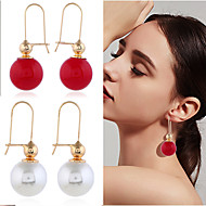 cheap -1 Pair Women's Classic Drop Earrings - Imitation Pearl Gold Plated Simple Jewelry White / Coffee / Red For Wedding Date Bar