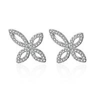 billige -Dame Klar Kvadratisk Zirconium Klassisk Stangøreringe S925 Sterling Sølv Øreringe Blomster Tema Blomst Kunstnerisk Koreansk Mode Smykker Sølv Til Arbejde 1 Par