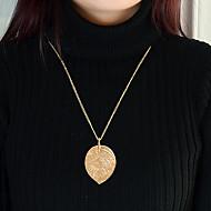 저렴한 -여성용 기하학적 인 롱 목걸이 - Leaf Shape 단순한, 패션 러블리 골드 67 cm 목걸이 보석류 1 개 제품 일상