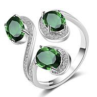 levne -Dámské Kubický zirkon Otevřete kruh Měď Fashion Ring Šperky Žlutá / Zelená / Modrá Pro Svatební Párty Zásnuby Nastavitelný