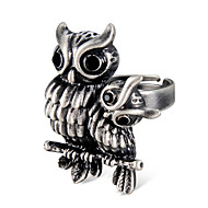 cheap -Men's Women's Black Crystal Vintage Style Ring Knuckle Ring Adjustable Ring - Silver Plated Owl Vintage, Rock, Hyperbole Jewelry Gray For Carnival Street Bar Adjustable