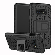 Etui Til Samsung Galaxy Galaxy S10 / Galaxy S10 Plus Stødsikker / Med stativ Bagcover Ensfarvet / Geometrisk mønster Hårdt TPU for S9 / S9 Plus / S8 Plus