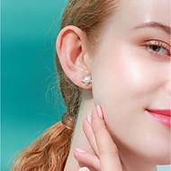 저렴한 -여성용 화이트 스터드 귀걸이 펄 S925 스털링 실버 귀걸이 꽃장식 단 패션 보석류 화이트 제품 선물 일상 1 쌍