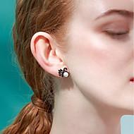 저렴한 -여성용 담수 진주 스터드 귀걸이 펄 S925 스털링 실버 귀걸이 백조 유럽의 단 패션 보석류 블랙 제품 생일 선물 1 쌍