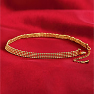 זול -בגדי ריקוד נשים קלאסי שרשראות מחרוזת ציפוי זהב קלסי אופנתי חמוד זהב 40 cm שרשראות תכשיטים 1pc עבור יומי מסיבת ערב