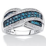 זול -בגדי ריקוד נשים זירקונה מעוקבת סגנון וינטג' טבעת הצהרה טבעת הצהרה מסוגנן פאר ארופאי טרנדי Fashion Ring תכשיטים כחול עבור חתונה Party מתנה פגישה (דייט) 6 / 7 / 8 / 9 / 10