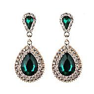 저렴한 -여성용 크리스탈 배 드랍 귀걸이 모조 다이아몬드 귀걸이 세련 유니크 디자인 보석류 블랙 / 그린 / 블루 제품 결혼식 파티 이브닝 파티 1 쌍