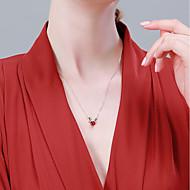 저렴한 -여성용 목걸이 S925 스털링 실버 디어 단순한 클래식 패션 와인 40+3 cm 목걸이 보석류 1 개 제품 생일 선물