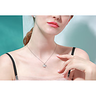 お買い得  -女性用 ネックレス S925スターリングシルバー ホワイト 40+3 cm ネックレス ジュエリー 1個 用途 贈り物 日常