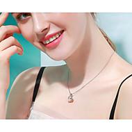 저렴한 -여성용 목걸이 S925 스털링 실버 화이트 40+3 cm 목걸이 보석류 1 개 제품 선물 일상