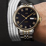 billiga -Herr Frackur Quartz Rostfritt stål Guld 30 m Vattenavvisande Kalender Kreativ Ramtyp Ledigt Mode - Guld Vit Svart