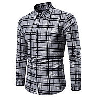baratos -Homens Camisa Social Estampado, Sólido / Quadriculada / Gráfico