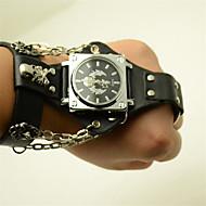 Χαμηλού Κόστους -Ανδρικά ρολό περιτυλίγματος Χαλαζίας Δέρμα Μαύρο 30 m Καθημερινό Ρολόι Πανκ Αναλογικό Υπαίθριο Μοντέρνα - Μαύρο