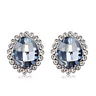 저렴한 -여성용 블루 크리스탈 스터드 귀걸이 은 도금 모조 다이아몬드 귀걸이 세련 단순한 귀여운 스타일 보석류 밝은 블루 제품 일상 데이트 작동 1 쌍