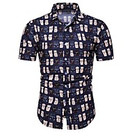cheap -Men's Shirt - Geometric / Color Block / Paisley Print Blue XXXL