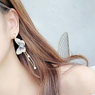 זול -בגדי ריקוד נשים צבעים מרובים פנינה עגילי טיפה פנינה יהלום מדומה כסוף עגילים פרפר קוראני תכשיטים זהב בהיר / כחול ים עבור יומי זוג 1