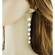 저렴한 -여성용 기하학적 인 드랍 귀걸이 모조 진주 귀걸이 세련 낭만적 보석류 화이트 제품 일상 1 쌍