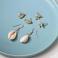 저렴한 -여성용 스터드 귀걸이 드랍 귀걸이 쉘 귀걸이 자연적 열대의 보석류 골드 제품 결혼식 파티 일상 거리 작동 3 쌍