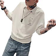 זול -אותיות צווארון עומד(סיני) סגנון רחוב חולצה - בגדי ריקוד גברים דפוס לבן L / שרוול ארוך