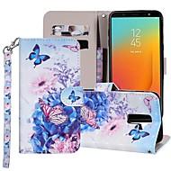 preiswerte -Hülle Für Samsung Galaxy Galaxy J6(2018) / Galaxy J7(2018) Geldbeutel / Kreditkartenfächer / mit Halterung Ganzkörper-Gehäuse Schmetterling / Blume Hart PU-Leder für J8 (2018) / J7 (2017) / J7 (2018)