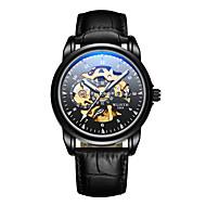 levne -Pánské mechanické hodinky Mechanické manuální natahování Pravá kůže Černá 30 m Voděodolné S dutým gravírováním Svítící Analogové Módní Kostra - Černá Černobílá Černá / Modrá