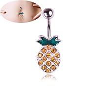 خاتم السرة / ثقب البطن أناناس شائع نسائي فضي مجوهرات الجسم من أجل مهرجان