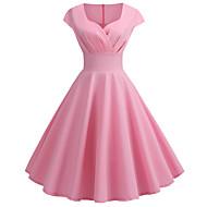 billige -Dame Vintage Elegant Swing Kjole - Ensfarvet, Flettet Knælang